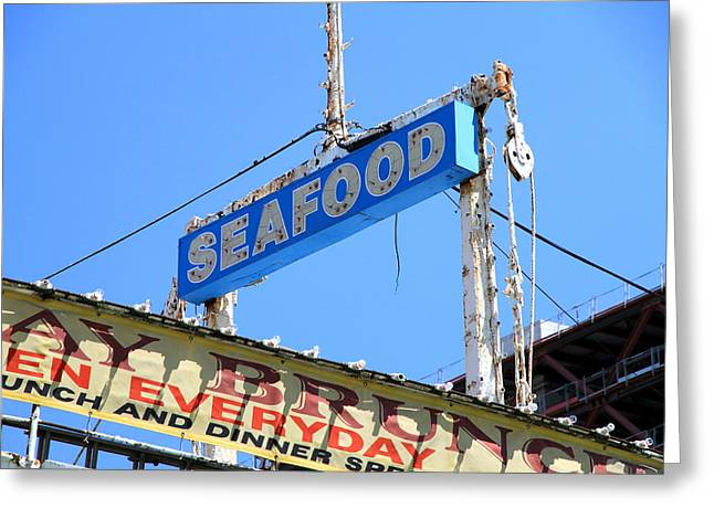 Seafood Sign Greeting Card by Valentino Visentini