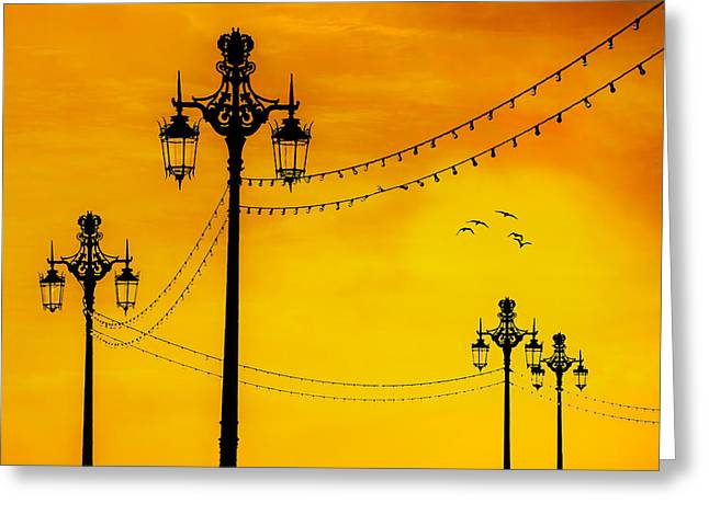 Seafront Sunset Greeting Card by Chris Lord