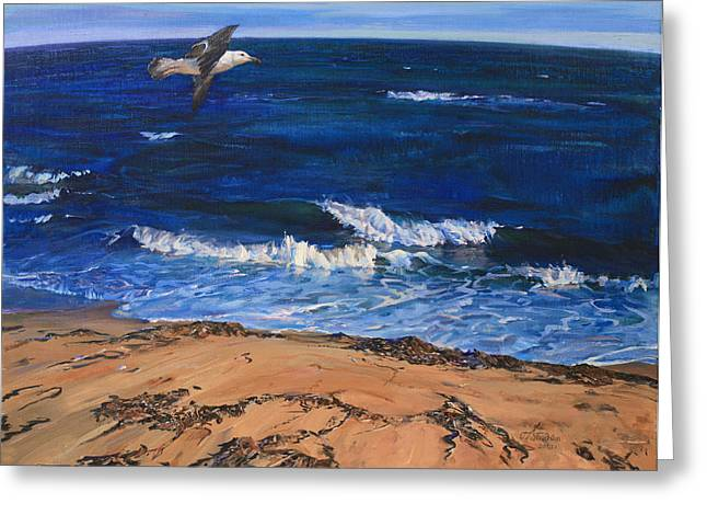 Seagull Flying Along The Surf Greeting Card