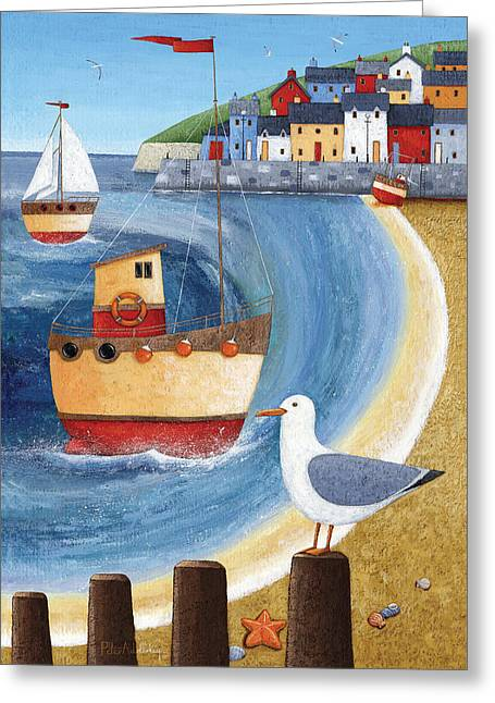 Seagull Lookout Greeting Card by Peter Adderley