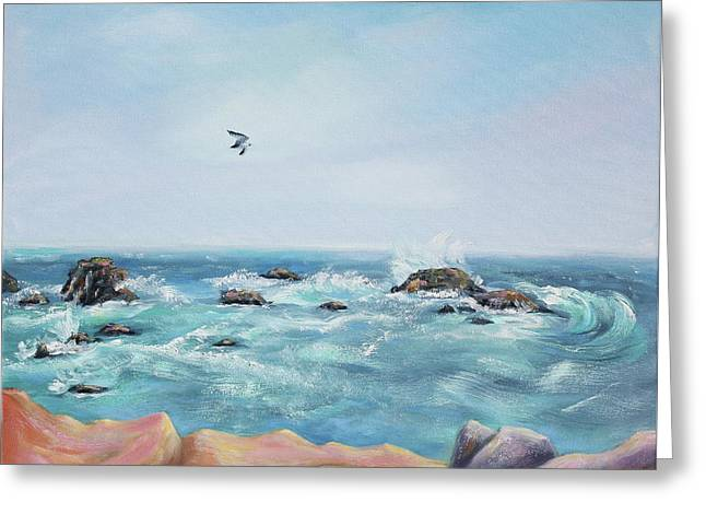Seagull Over The Ocean Greeting Card by Asha Carolyn Young