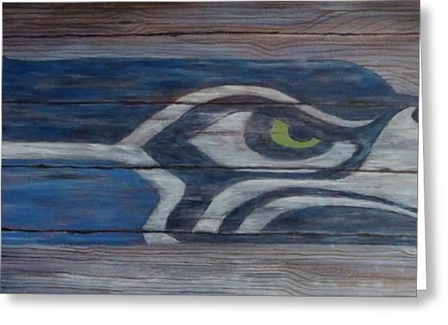 Seahawks Greeting Card by Xochi Hughes Madera