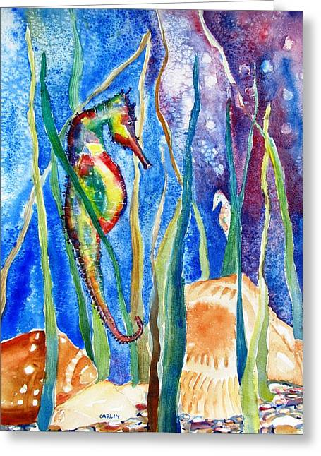Seahorse And Shells Greeting Card