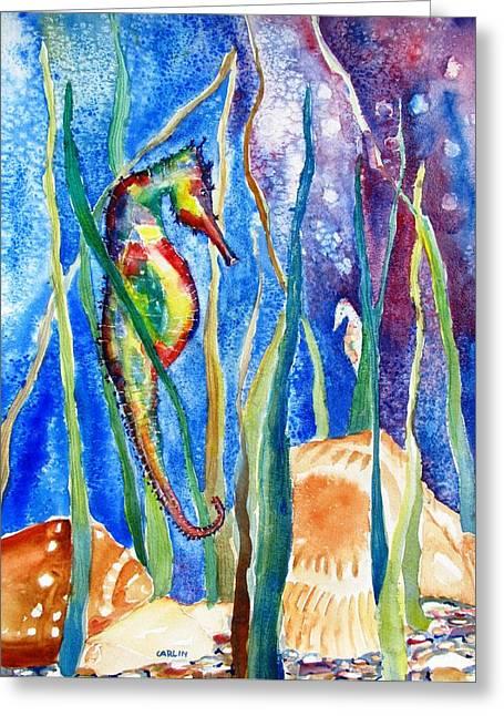 Seahorse And Shells Greeting Card by Carlin Blahnik