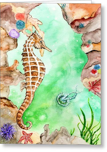 Seahorse Cave Greeting Card