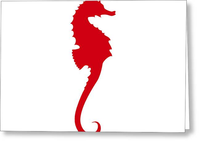 Seahorse In Red Greeting Card