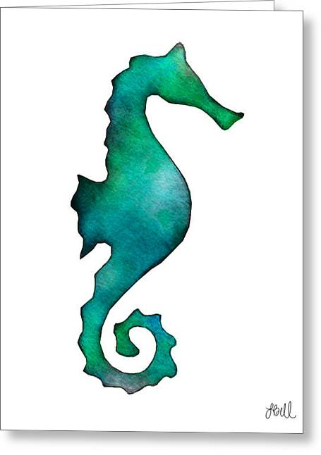 Greeting Card featuring the painting Seahorse by Laura Bell