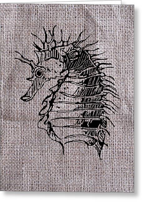 Seahorse On Burlap Greeting Card