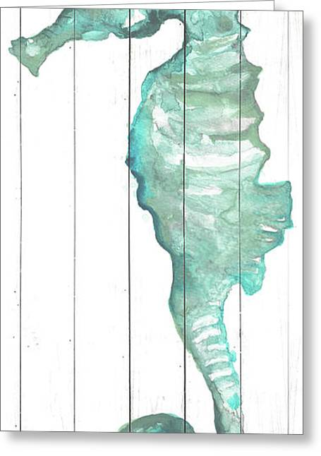 Seahorse On Wood Plank Greeting Card by Elizabeth Medley