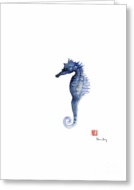 Seahorse Sea Horse Blue Fish Water Colors Collection Fishes Watercolor Painting Greeting Card by Johana Szmerdt