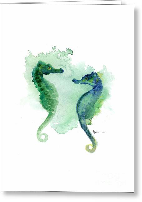 Seahorses Watercolor Art Print Painting Two Seahorses Artwork Greeting Card by Joanna Szmerdt