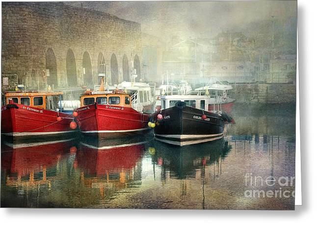 Greeting Card featuring the photograph Seahouses Harbour In Mist by Brian Tarr