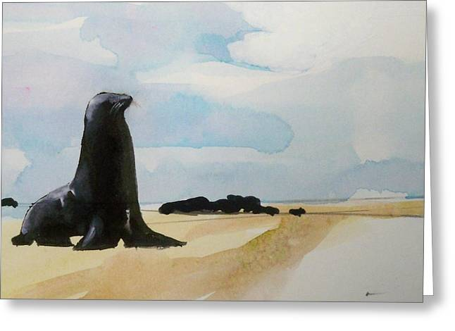 Greeting Card featuring the painting Seal Rock by Ed  Heaton