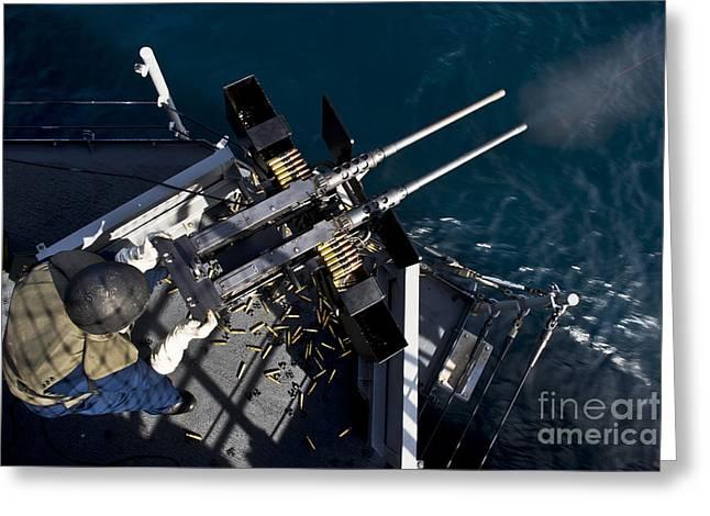 Seaman Fires Twin .50 Caliber Machine Greeting Card