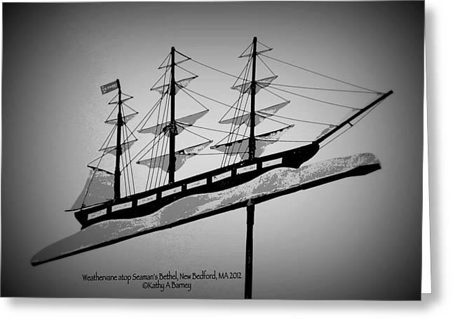 Seaman's Bethel Weathervane  Greeting Card by Kathy Barney