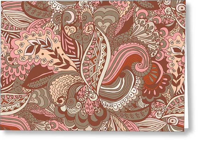 Seamless Abstract Hand-drawn Floral Greeting Card