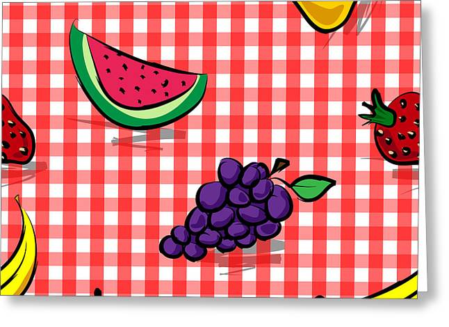 Seamless Grungy Fruits Over Red Gingham Pattern Greeting Card