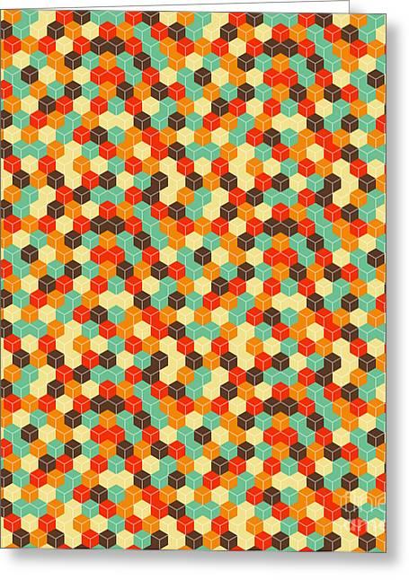 Seamless Hexagonal - Cube, Cubic Greeting Card by Ravennka