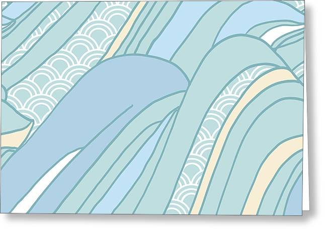 Seamless Japanese Pattern In Pastel Greeting Card by Hasselnott