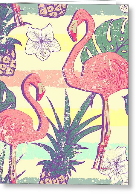 Seamless Pattern With Flamingo Birds Greeting Card