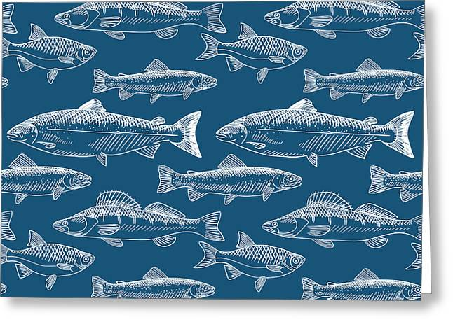 Seamless Pattern With Hand Drawn Fish Greeting Card