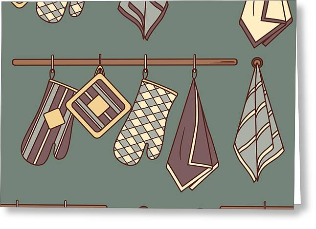 Seamless Pattern With Kitchen Textiles Greeting Card by Talirina