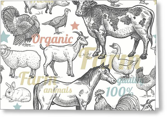 Seamless Pattern With Livestock Greeting Card