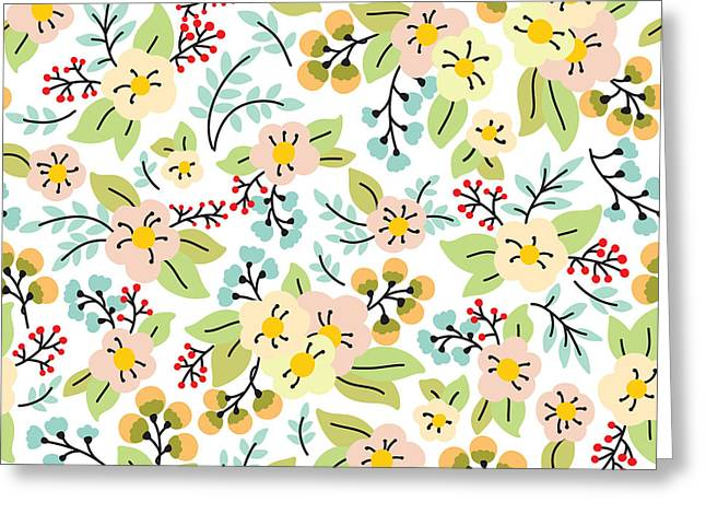 Seamless Pattern With Yellow And Pink Greeting Card