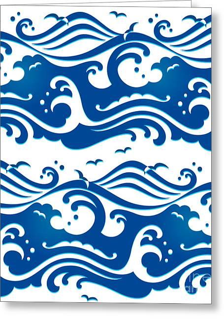 Seamless Stormy Ocean Waves Pattern Greeting Card