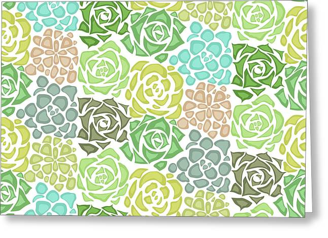 Seamless Texture With Flat Succulents Greeting Card