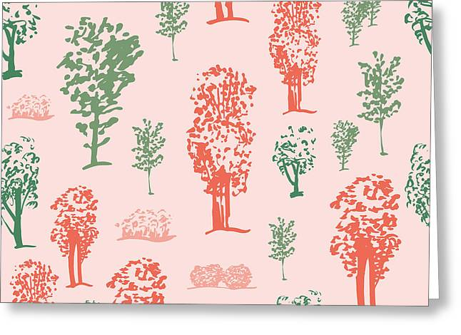 Seamless Tree Pattern, Deciduous Trees Greeting Card