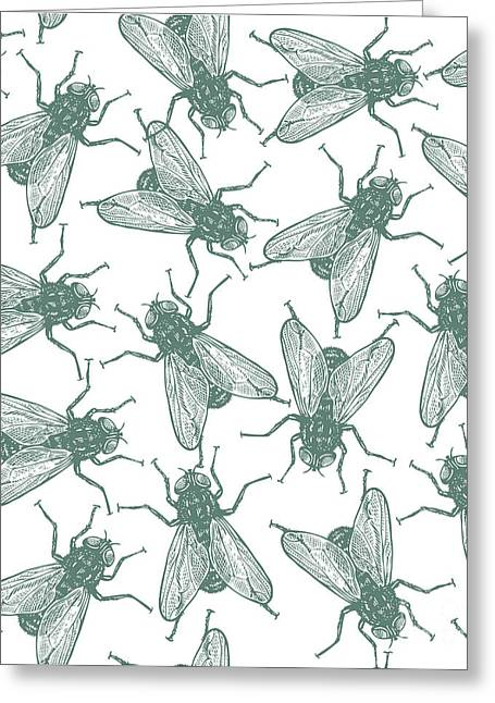 Seamless Vector Flies Pattern In Greeting Card by Lestyan