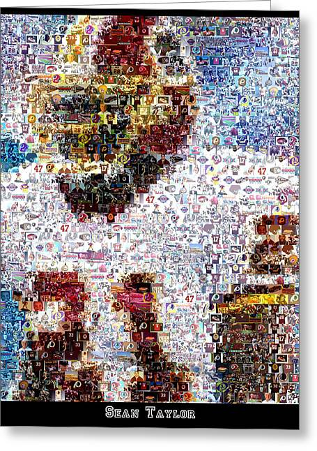 Sean Taylor Mosaic Greeting Card by Paul Van Scott