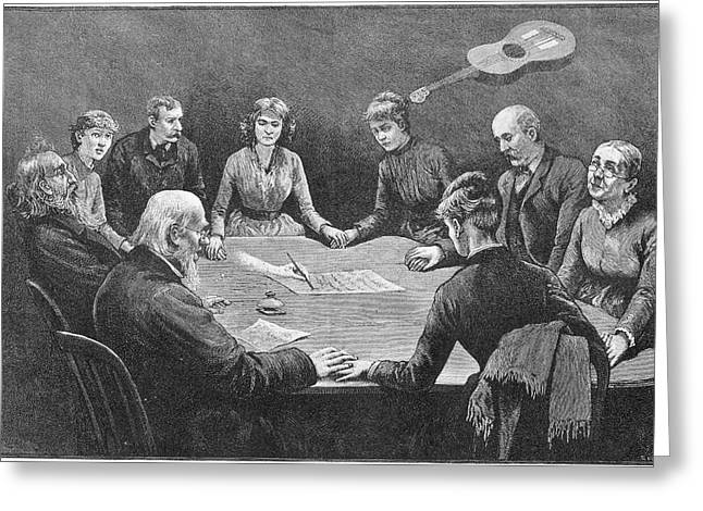 Seance At New York With An  Unnamed Greeting Card by Mary Evans Picture Library