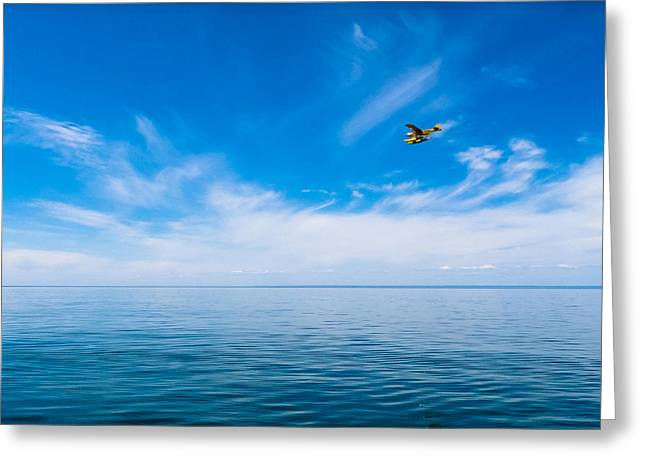 Seaplane Over Lake Superior   Greeting Card by Lars Lentz