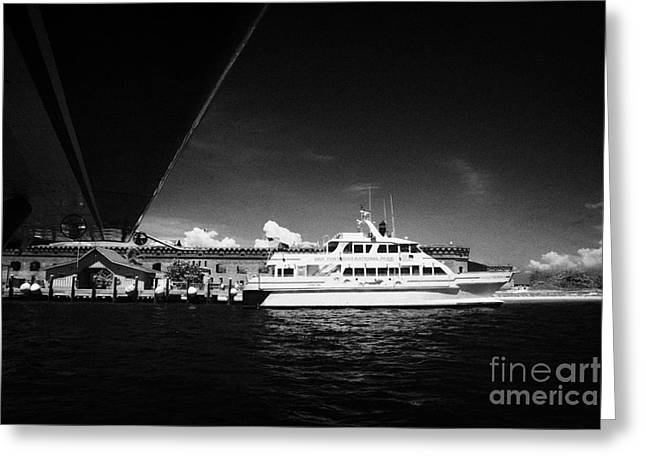 Seaplane Passing Ferry And Dock At Fort Jefferson Dry Tortugas National Park Florida Keys Usa Greeting Card by Joe Fox