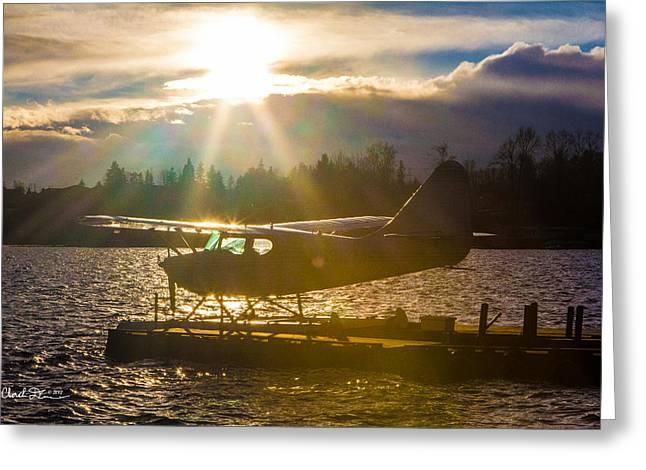 Seaplane Sunset Greeting Card
