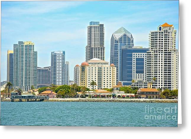 Seaport Village And Downtown San Diego Buildings Greeting Card