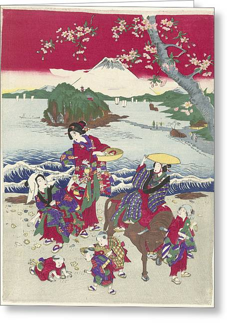 Searching For Shells On The Beach, Japanese Print Greeting Card by Anonymous
