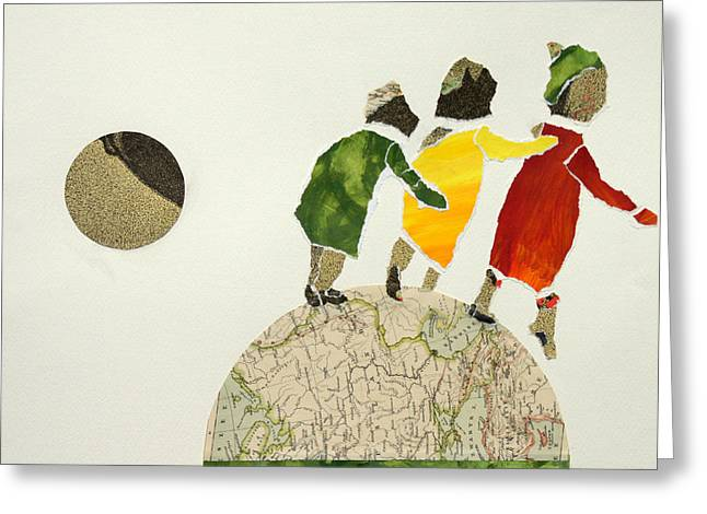 Helping Each Other In Our Way Over The Globe Greeting Card by Jolly Van der Velden
