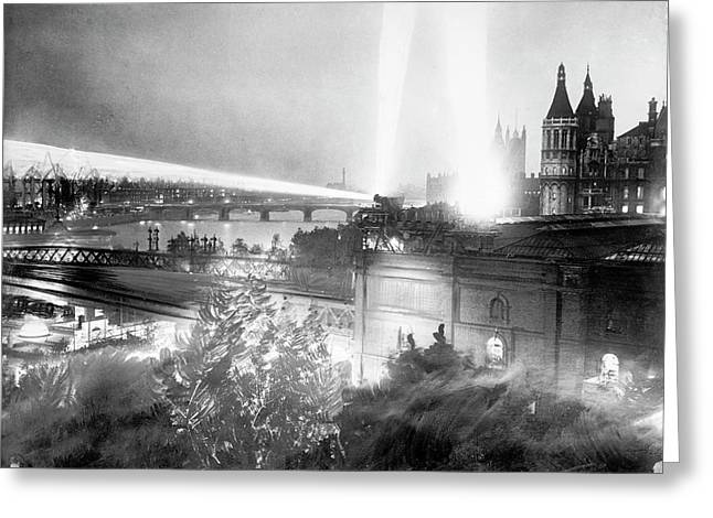 Searchlights Over London Greeting Card by Library Of Congress