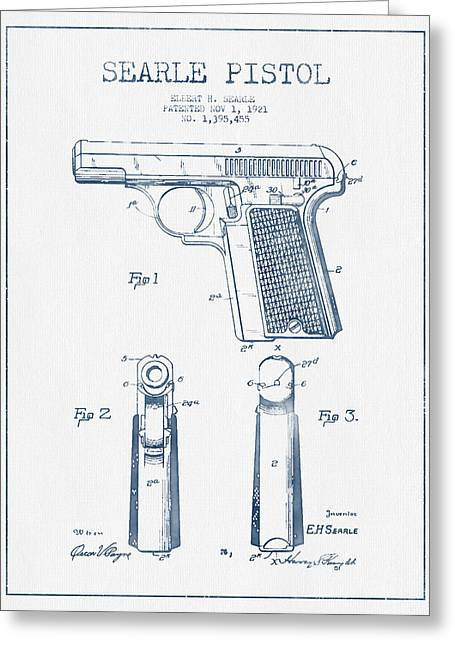 Searle Pistol Patent Drawing From 1921 -  Blue Ink Greeting Card
