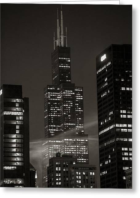 Sears Or Willis Tower In Chicago  Greeting Card by John McGraw