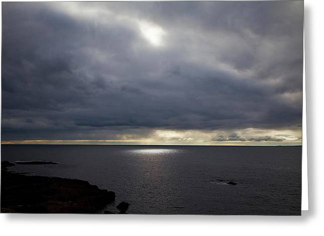 Seascape And Sunburst Off The Burren Greeting Card by Panoramic Images