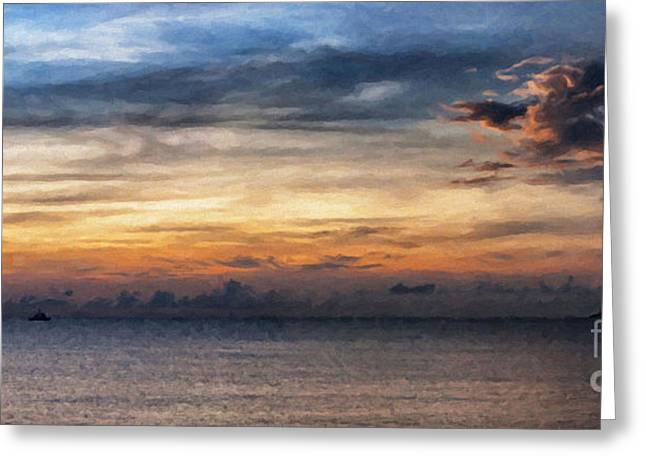 seascape Asia panorama BIG painting Greeting Card by Antony McAulay