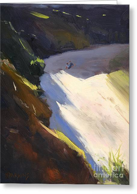 Greeting Card featuring the painting Seascape Drama After Colley Whisson by Nancy  Parsons