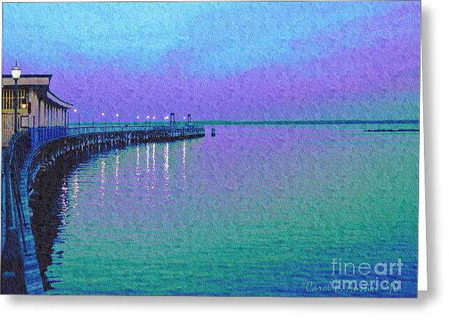 Painterly Seascape Purple Flurry Greeting Card