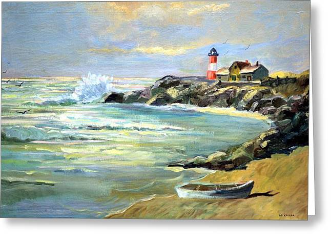 Seascape Lighthouse By Mary Krupa Greeting Card