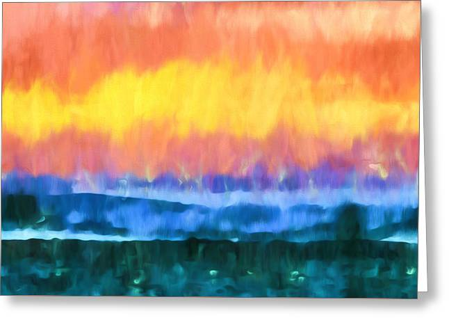 Seascape Sunset Abstract Art - Dancing Lights At The Beach  Greeting Card