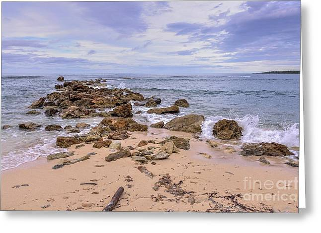 Greeting Card featuring the photograph Seascape With Rocks by Jola Martysz